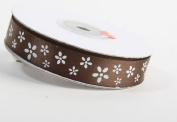 1.6cm - Wide Satiny Brown Ribbon with Mini White Florals 50 yards Total