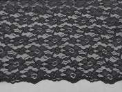 Dark Grey 2way Stretch Mesh W/corded Floral Embroidery Bridal Lace Fabric 130cm By the Yard