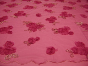 Fuchsia, Lace Fabric with 3d Flowers and Sequins on Mesh Polyester.