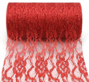 Kel-Toy Sparkle Lace Fabric, 15cm by 10-Yard, Red