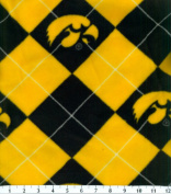 NCAA Fleece Fabric-University Iowa Argyle