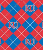 NCAA Fleece Fabric-University of Kansas Argyle
