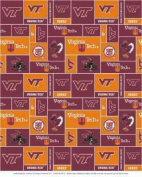 College Virginia Tech University Hokies Print Fleece Fabric By the Yard