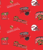 College University of Maryland Terrapins Terps Print Fleece Fabric By the Yard