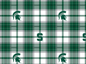College Plaid Michigan State University Spartans Fleece Fabric Print by the Yard