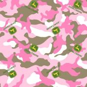 John Deere Camo Logo Toss on Fabric by The Yard, 2.5cm Wide, Pink