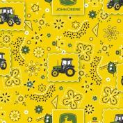 John Deere Bandana Tractor Patch Fabric by The Yard, 2.5cm Wide, Yellow