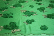Green, Lace Fabric with 3d Flowers and Sequins on Mesh Polyester.