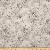 300cm Wide Day Lily Quilt Backing Floral Taupe Fabric