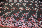 Silver on Black Embroidery Lace Fabric on Mesh, Flower Design Textiles with Double Side Border and Sequins