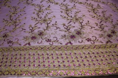 Lavender -Fancy Embroidery Lace Textile on Mesh, Flower Design Fancy Fabric with Double Side Border and Sequins