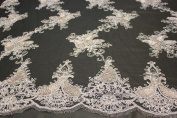 Black and Silver, Embroidey Lace Fabric with Squins and Paisley Design on Polyester Mesh