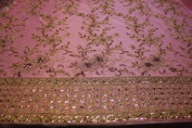 Candy Pink Fancy Embroidery Lace Textile on Mesh, Flower Design Fancy Fabric with Double Side Border and Sequins