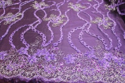 Purple- Fashionable Lace Embroidery, Chain and Flower Design with Double Side Border and Sequins on Polyester Mesh