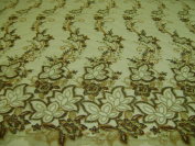 Taupe, Embroidery Lace Fabric with Beads on Polyester Mesh