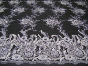 Black, Embroidey Lace Fabric with Sequins and Paisley Design on Polyester Mesh