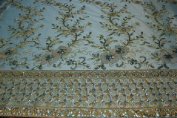 Aqua Fancy Embroidery Lace Textile on Mesh, Flower Design Fancy Fabric with Double Side Border and Sequins