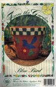 Blue Bird Flower Pot Fabric Applique Kit