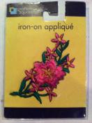 Iron on Appliqué Pink Flower 7.6cm X 7.6cm