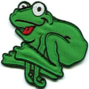 Frog Toad Hippie 70s Retro Fun Animal Amphibian Applique Iron-on Patch