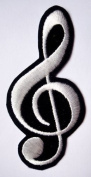 MUSICAL NOTATION MUSIC NOTE SIGN Embroidered Iron on Patch 4.7 cm x 9.8 cm