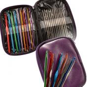 22 Multi-colour Aluminium Crochet Hooks Needles Yarn Weave Knit Craft Set w/ Case
