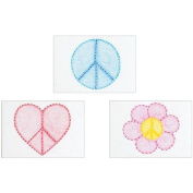Stamped Embroidery Kit Beginner Samplers 15cm x 20cm 3/Pkg-Peace Signs