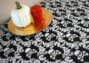 SKULL & CROSSBONES Black & White VINYL WATERPROOF Tablecloth with PROTECTIVE FABRIC BACKING Halloween Decoration