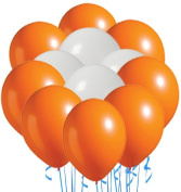 Perfect Colour Inflatables White and Orange Pack of 20