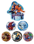 6 Marvel Super Hero 46cm Mylar Balloons - Spiderman, Fantastic Four, Wolverine Bouquet Bundle