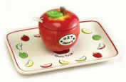 Rite Lite HDA-1 Ceramic Apple Honey Dish Set With Tray And Spoon - Pack Of 2