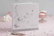 Ginger Ray Silver & White Butterfly Wedding Guest Book X 32 Blank Pages