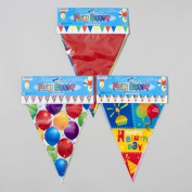 FLAG BANNER 12-15 FT 3ASST BALLOON/BDAY/SOLID MULTICOLOR, Case Pack of 48