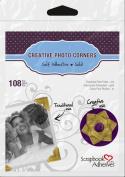 3L Scrapbook Adhesives Self-Adhesive Creative Paper Photo Corners, Gold, 108-Pack