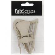 Fabscraps Die-Cut Chipboard Embellishment, Harp and Chair, 9.4cm by 7.1cm