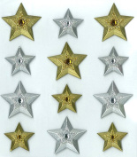 Jolee's Boutique Cabochons Dimensional Stickers, Gold Silver Stars