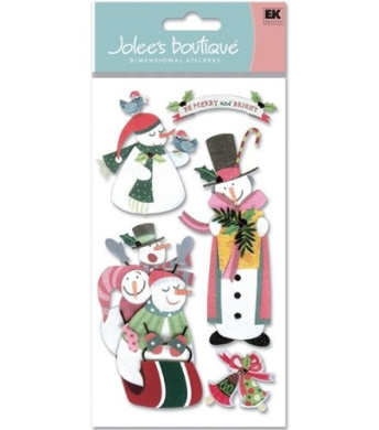 Jolee's Boutique Le Grande Holiday Stickers-Playful Snowmen
