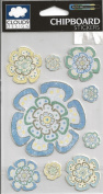 Riley's Bay Flowers Chipboard Scrapbook Stickers