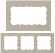Fabscraps Die-Cut Grey Chipboard Embellishments, Journal Frames