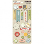 She Said Decorative Buttons 22/Pkg-16 Chipboard, 6 Plastic