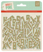 BasicGrey 25th and Pine Collection Printed Chipboard Alpha