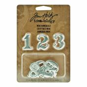 Metal Mini Numerals by Tim Holtz Idea-ology, 11 Numerals, 2.5cm , Polished Silver Finish, TH93013
