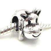 "Jewellery Monster Antique Finish ""3D Cow"" Charm Bead for Snake Chain Charm Bracelet"