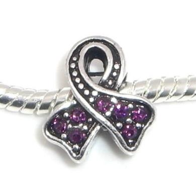 "Jewellery Monster Antique Finish ""Purple Rhinestone Awareness Ribbon"" Charm Bead for Snake Chain Charm Bracelet"
