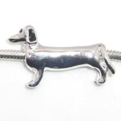 "Jewellery Monster Silver Finish ""Long Dachshund"" Charm Bead for Snake Chain Charm Bracelet"