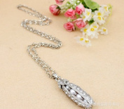 Silver Plated Fashion Pea in Pod Long Necklace Pendant / Sweater Chain