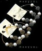 Gold Tone Dotted Beads & Pearls Hoop Earrings