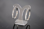 New Steel Fashion Jewellery Brushed Silver Round 4mm Hoop Earrings-30mm