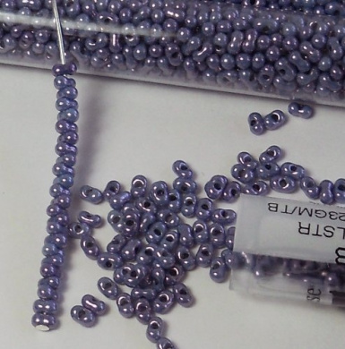 Light Violet Lustre 2x4mm 6/0 Peanut Farfalle Butterfly Seed Beads 23 Gramme Tube