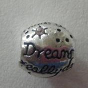 "Pandora Style Silver""Dreams Really Do Come True"" Rose Rhinestone Charm"